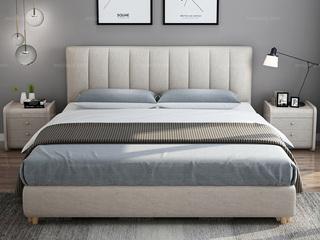 凤凰天 北欧风格 全拆洗 布艺双人床 舒适靠背 小尺寸小户型首选 结构坚固 1.8米高箱大床