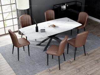意式极简大理石餐桌 T1016白色1.8米长方形餐桌