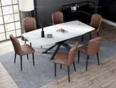 诺美帝斯 意式极简大理石餐桌 T1016白色1.4米长方形餐桌