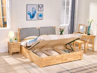 荣之鼎 优质进口橡胶木框架 原木色+卡其色 北欧风格1.8米布艺高箱床