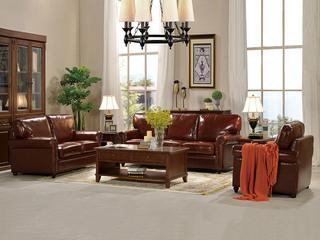 U客利家 简美U818沙发组合 进口油蜡皮皮艺1+2+3沙发