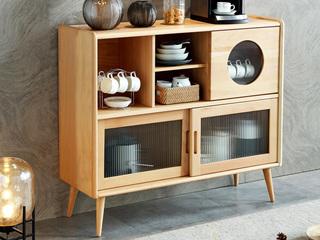 北欧风格 榉木坚固框架 原木色 餐边柜