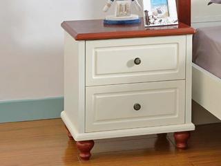 地中海风格 双抽储物设计 泰国进口橡胶木实木脚 光滑圆润拉手  床头柜