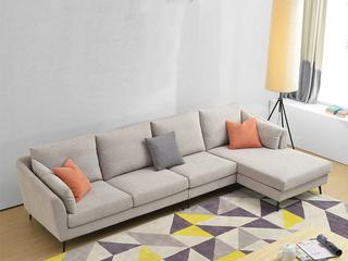 布艺沙发组合大小户型 北欧客厅沙发 浅灰色 可拆洗沙发组合(1.5+3+左贵妃)