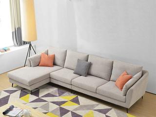 布艺沙发组合大小户型 北欧客厅沙发 浅灰色 可拆洗沙发组合(1.5+3+右贵妃)