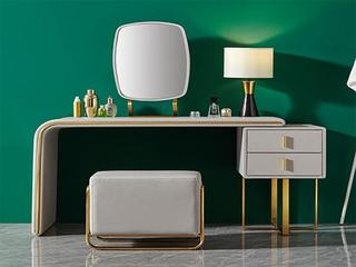卡伦斯特  轻奢风格 高清镜面 优质五金 1.35m妆台妆凳组合