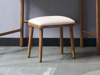 木之忆 北欧风格 北美进口白蜡木 优质超纤皮 优质五金脚 软包妆凳