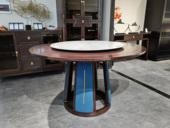 墨舍 新中式 东南亚进口红檀木  大理石 餐桌(含转盘)
