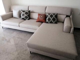 芬洛 现代风格 进口樟子松框架 科技布 2.9米转角沙发(3+左贵妃)(现货秒发)