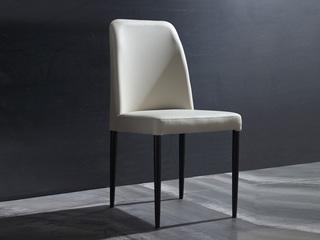 斐亚家居 极简风格 碳素钢喷黑砂脚 环保PU皮 餐椅
