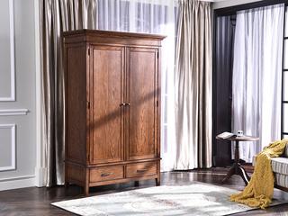 丹饰林 北美进口红橡 嘉宝莉环保漆简美 实木两门衣柜 整体衣柜 卧室储存柜衣柜
