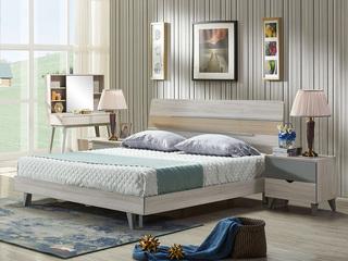 北寓生活系列 北欧风格板式1.8米床 经济实惠 原木色+灰色 E1级高密度板 北欧排骨架床板式床
