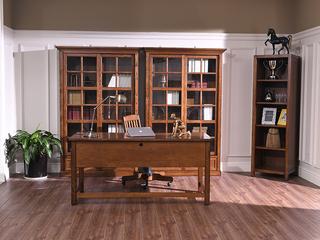 丹饰林 北美进口红橡 嘉宝莉环保漆 简美风格  戴恩玻璃门书柜