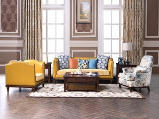 丹饰林 高档橡胶木 结构坚固实木框架 低调奢华美式风格1+3组合沙发