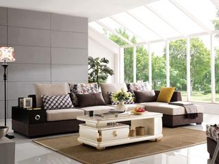 【纾康】现代简约可拆洗布艺沙发组合客厅小户型转角左贵妃L型沙发套装(1+2+左贵妃)