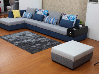 【纾康】实木框架 防螨透气麻布面料 多功能储物扶手 现代风格转角沙发组合(1+2+右贵妃)