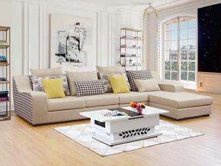 【纾康】浅黄+格子麻布面料 贴合手型曲线扶手 现代风格转角沙发组合1562C(1+2+左贵妃)
