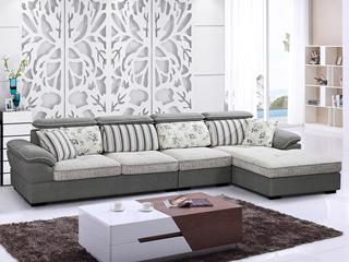 【纾康】实木框架 超柔植绒布料 现代休闲风格转角沙发(1+2+左贵妃)1701