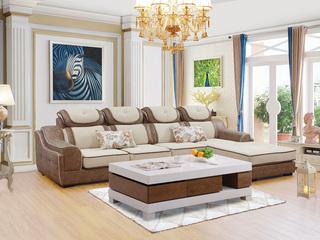 【纾康】不分方向 实木框架 三防布+科技布面料 现代风格转角沙发组合(2+2+脚踏)