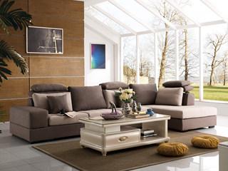 【纾康】天然实木框架 防螨透气麻布面料 全手工工艺 现代风格沙发组合(1+2+左贵妃)