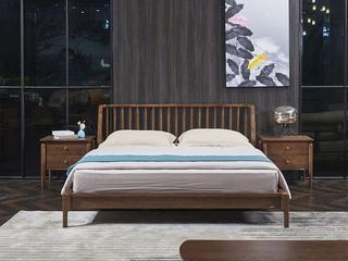 非色家具 意式轻奢风格 北美进口白蜡木  实木自然纹理 优雅 1.8米床