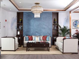 博洛妮亚 新中式沙发实木布艺1+2+3人位沙发