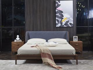 非色家具 意式轻奢风格 北美进口白蜡木 实木自然纹理 舒适背靠 1.8米床