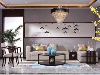 博洛妮亚 新中式沙发实木皮艺转角沙发