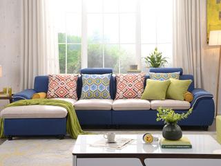【纳德威】布艺沙发组合小户型简约靠枕可升降功能客厅家具蓝色 沙发组合(1+3+右贵妃)