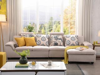 【纳德威】布艺沙发组合小户型简约靠枕可升降功能客厅家具米黄色 沙发组合(1+3+左贵妃)