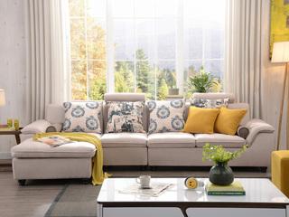 【纳德威】布艺沙发组合小户型简约靠枕可升降功能客厅家具米黄色 沙发组合(1+3+右贵妃)