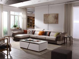 【纳德威】实木框架 现代转角布艺沙发可调节头枕功能咖啡色配米色2+2+单位随意组合贵妃可以左右互摆