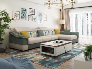 【纳德威】实木框架 现代转角布艺沙发可调节头枕功能草绿配米色(2+2+单位)随意组合贵妃可左右互摆