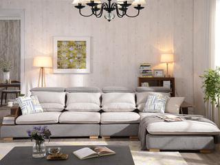 【纳德威】布艺沙发组合小户型简约头枕可升降功能浅灰色1+3+右贵妃