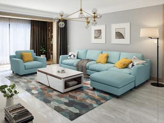 【纳德威】实木框架乳胶颗粒 现代转角布艺沙发组合 客厅沙发兰色脚踏+1+2+2  脚踏可左右互摆