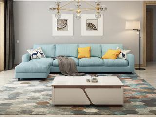 【纳德威】实木框架乳胶颗粒 现代转角布艺沙发组合 客厅沙发兰色左双人+右双人+脚踏   脚踏可左右互摆