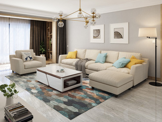 【纳德威】实木框架乳胶颗粒 现代转角布艺沙发组合 客厅沙发米黄色 脚踏+1+2+2  脚踏可左右互摆
