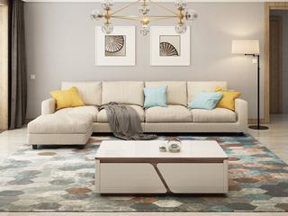 【纳德威】实木框架乳胶颗粒 现代转角布艺沙发组合 客厅沙发米黄色 左双人+右双人+脚踏  脚踏可左右互摆