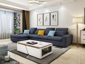 【纳德威】实木框架乳胶颗粒 透气棉麻布料 现代转角布艺沙发组合 客厅功能头枕沙发深灰色1+3+右贵妃