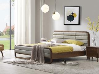 非色家具 意式轻奢风格 北美进口白蜡木框架 超纤软靠床头 1.8米床