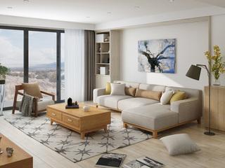 北欧宜家布艺沙发组合 小户型型客厅转角贵妃  3+左贵妃