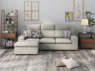 【纳德威】 现代风格 小户挚爱 时尚舒适转角沙发浅灰色 3+脚踏