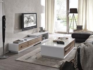 【纳德威】优质钢化玻璃面 现代时尚可拉伸白色电视柜