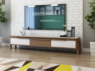 【纳德威】北欧宜家 抗腐蚀抗刮花磨砂玻璃面 实木(橡木)客厅电视柜 3抽屉浅胡桃色 客厅家具