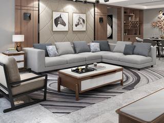 实木框架 现代简约大气客厅布艺组合沙发 透气涤棉布料 全拆洗1+2+左贵妃