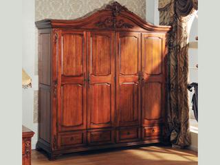 精美家 进口桃花芯木 美式风格 实木四门衣柜 卧室平拉柜 储存柜