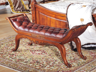 精美家 进口桃花芯木 头层牛皮 美式风格 实木床尾凳 真皮床尾凳 换鞋凳