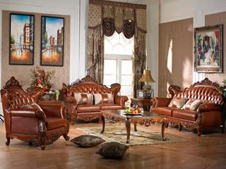 精美家 进口桃花芯木 实木头层皮沙发 美式古典风格 1+2+4沙发