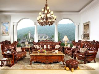 精美家 进口桃花芯木 头层牛皮 立体双面雕花 美式风格 实木沙发 真皮沙发 客体沙发组合 大户型高档沙发 1+2+3沙发组合