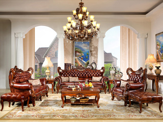 精美家 俄罗斯进口桃花芯木 头层牛皮 加厚双面立体雕花 美式风格古典沙发(1+2+3+6个抱枕)